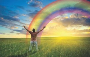человек и радуга
